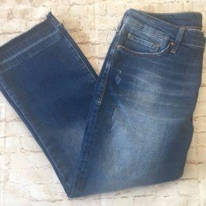 Mavi Anika Mid Rise Croo Flare Destressed Jean